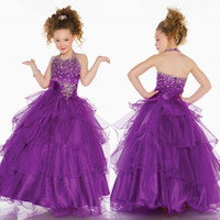 Reference Images Girl Applique 014 Princess Fushcia Halter Ball Gown Glitz Pageant Dresses crystal organza stack up ruffles pageant little Girl Dress Custom Made