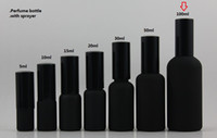 Wholesale ml black frosted travel refillable perfume bottle with black atomiser spray mist perfume container perfume packing