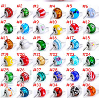 Wholesale 9 mm mm Hole Size DIY Beads mix style Lampwork Glass European Beads Fit Charm Hand chain FX1