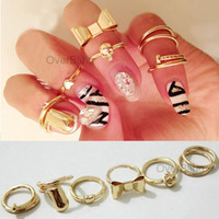 Band Rings Women's Party New arrive 7Pcs Heart Bowknot Skull Simple Band Midi Mid Nail Finger Top Stacking punk Ring Set wholesale