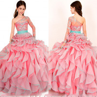 glitz pageant dresses - 2014 Fashion Watermelon Asymmetrical Beads Crystal Ruched Ball Gown Organza Girl s pageant Dresses Tiered Pleats Flower Girl Glitz Dresses