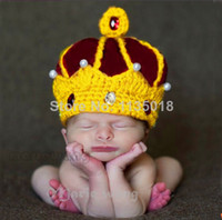 Boy baby king costume - Newborn Boy Girl Photography photo Costume Props Handmade Crochet King Crown Baby Crystal Pearls Beanies Hats Caps