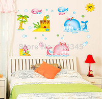 Wholesale Saturday Mall SeaWorld cartoon colorful whale bathroom ceramic tile decorative wall sticker waterproof kids decals