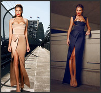 Reference Images Square Satin Buy Sexy GALANNI Evening Gowns Sheath Square Neckline Cap Sleeve Asymmetrical Peplum Thigh Slit Fashion Evening Party Dresses Floor Length