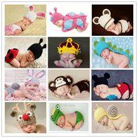 baby beanie - 2014 New Fashion handmade Boy Girl Baby Beanie Costume Kids newborn Photography Hats Shorts Set Knitted Photo Props Crochet caps