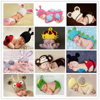 Wholesale Handmade Boy Girl Baby Beanie Costume Kids newborn Photography Hats Shorts Set Knitted Photo Props Crochet caps