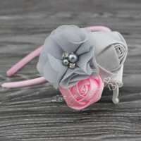 Wholesale MOQ Sweet satin rose flower hairband chiffon flower with pearl Rhinestone hair accessory Baby girl headband