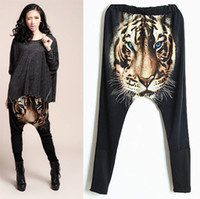 Women tiger print - Vintage Animal Tiger Printed Hip hop Casual Women Disco Down Harem Pants Trousers With Elastic Waist For