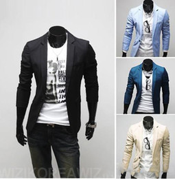 Wholesale Hot Selling Solid Color One Button Men s Casual Blazers Suits Fashion Outwear Dropship