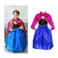 Wholesale Baby Girls Frozen Anna Dresses Clothes Sets with Cloak Ball Gown Robe Outfits T01