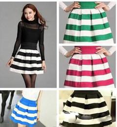 FashionLady's Stripe Puff Cotton Blend Skirts High Waist Skirts Dress Girls Thin Skirt Black Blue Rose Red Green Apricot