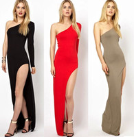 Maxi Dresses strapless maxi dress - Fashion Ladies Sexy Oblique strapless Shoulder Split Side split Women Maxi Dress LongMaxi Dress Long Sleeve Red Black and khaki FT3159