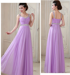 Cheap Sexy Fashion Pleats Crystals A Line Bateau Chiffon Long Prom Dresses Beaded Backless Floor Length Evening Dresses Bridesmaid Dres