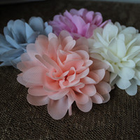 chiffon baby flats - Trial order soft chic chiffon flower head Baby girl hair Accessories flat back mix color
