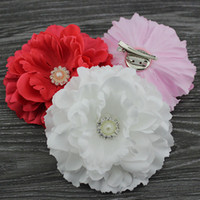 """haircilps fabric Floral 4.3"""" 12colors mix color fabric peony flower hair clip & Brooch with pearl Button Baby girl hair accessories Hair bows 24pcs lot"""