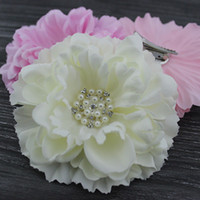 """haircilp fabric Floral 4.3"""" Peony flower with Bling Rhinestone pearl hair clip & Brooch layered Gorgeous flower hair Accessories hair bows 24pcs lot"""