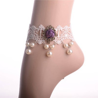 beach wedding shoes for bride - OP set new arrived Beach wedding White Crochet wedding Barefoot Sandals Nude shoes Foot jewelry for Bride Lace pearl Anklet