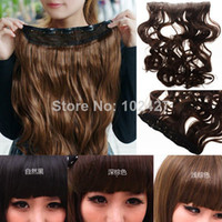 Wholesale 2014 Best Selling quot Fashion Women Synthetic Hair Extension Long Wavy Curly Onepiece Clip in on Hair Extensions Hairpiece