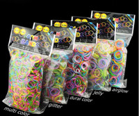 Charm Bracelets Other Children's Loom Bands Glitter Jelly Glow in the dark  Dual Color Multi Color Rubber Bands Loom Band Wrist Bracelet (600 bands + 24clip+hook)