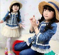 Wholesale Kids models fall girls washed denim jacket children fight lace princess denim jacket T04 Cute princess