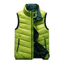 Wholesale New Men s Casual stand collar Down Vest Men s Winter Overcoat Outdoor Down Vests Green