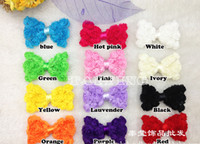 Hair Sticks Chiffon bow-knot 50pcs Children's Chiffon Rose Flowers Hair Clips Baby Girl Bowknot Hairpins Baby Hair Accessories Hair Bows With Ribbon Covered Dot Clip