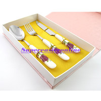 flatware - 10 Set Stainless Steel Fork Spoon Knife White Ceramic Handle Red Rose Pattern in1 Dinnerware Pack Flatware Set Cutlery Kit Gift Box