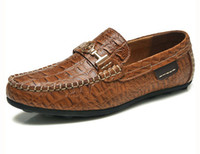 Wholesale 2014 The new crocodile genuine leather men s Boat shoes British fashion Peas driving shoes breathable shoes flat trend