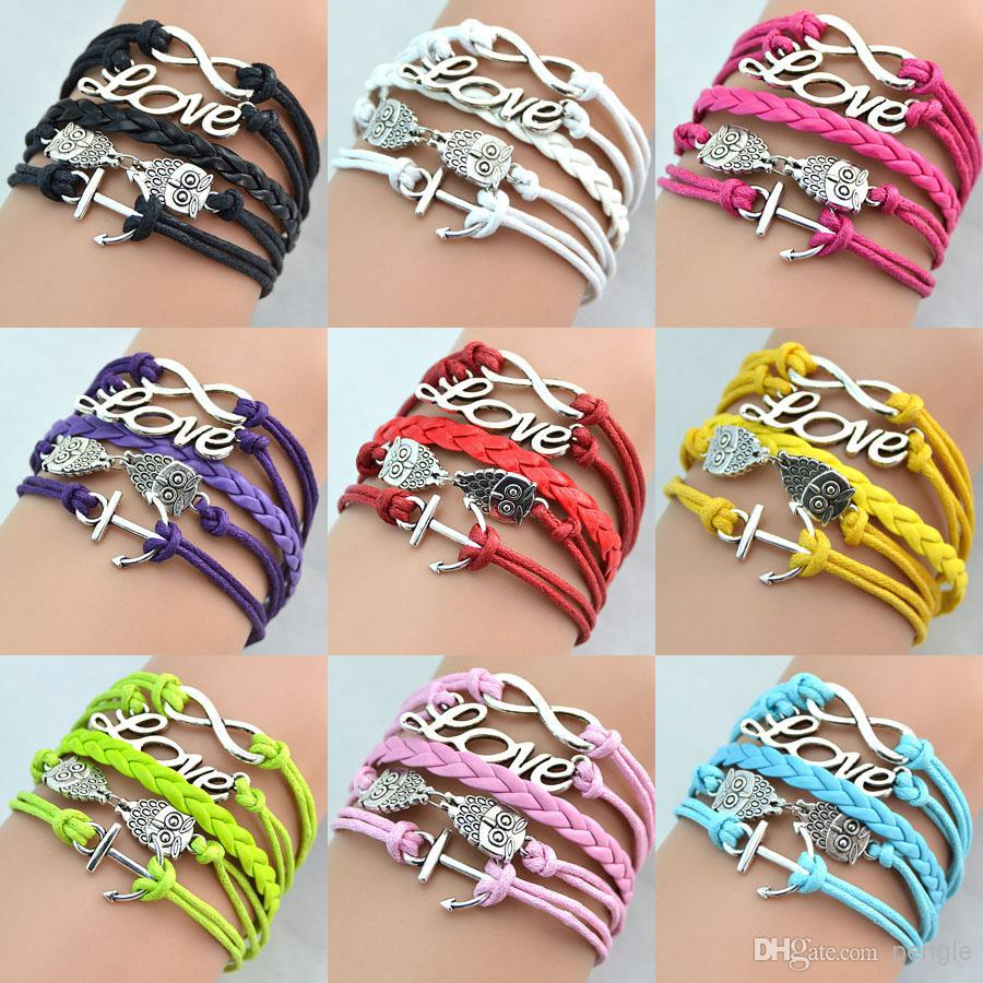New Hot Infinity Bracelets Antique Charm Love Owl Anchor Infinity Braided 9  Colors Mix Leather Bracelets Fashion Wrist Bands Jewellery Lots