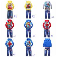 Wholesale Autumn winter boys clothes set terry warm hoodies long jeans boy suit spiderman cars printed cartoon children outfits kids jumpers set