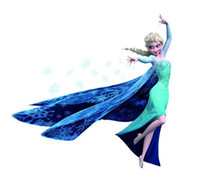 Wholesale Frozen Elsa wall stickers decal removable home decor art peel and stick kids children baby room bedroom television walls cartoon decor blue
