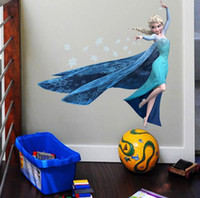Wholesale Frozen Elsa wall stickers decal removable home decor art peel and stick kids children baby girl room bedroom television walls cartoon decor