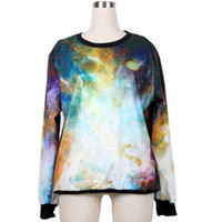 Wholesale 2014 men and women hoody pullovers and sweater hoodies sport suit sweatshirt women Tie Dye Doodle galactic cosmic watercolor sky