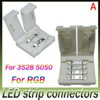 al por mayor más nueva tira llevada-Los más nuevos conectores llevados de la tira para 8m m 3528 y 10m m 5050 smd y 4pin DC RGB 5050 LED tiras luz ninguna soldadura llevada rápida