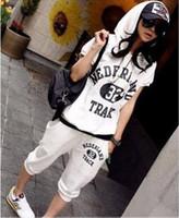 Women Pullover Yes FREE SHIPPING Z-761 Word 32 short-sleeve sports casual set Women sweat suit Sportwear