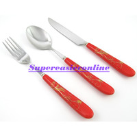 Wholesale Stainless Steel Fork amp Spoon amp Knife Red Ceramic Handle Gold Flower Pattern in1 Dinnerware Flatware Set Cutlery Kit Gift Box