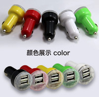 Wholesale 2 A mha USB Dual Car Charger V Dual Port car Chargers for iPad iPhone S iPod iTouch HTC Samsung mixs colors