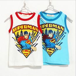 Wholesale children clothes summer cartoon boy superman cotton sleeveless vest kids clothing T shirt dandys