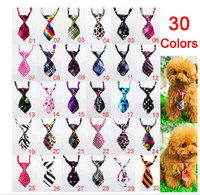 Wholesale 20pcs Fashion Polyester Silk Pet Dog Necktie Adjustable Handsome Bow Tie Necktie Grooming Supplies