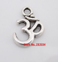 Charms om pendant - S11356 Wholeasale Tibet silver OM Sign Shape Charms Pendants Bead METAL Pandent Fit DIY Handcraft x11mm