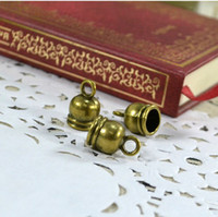 Charms Jewelry Findings pingfang Free Shipping 30pcs Antique Bronze End Bead Caps for Leather Cords Scarf Accessories Charm Pendants Findings