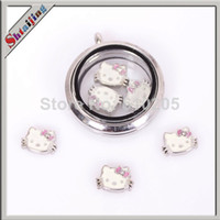 Trendy Fashion Charms Wholesale 2014 fashion Tibetan silver plated Enamel hello kitty charms for glass living locket