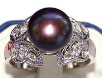 Three Stone Rings Party party wigs Rare Tibetan silver butterfly 8-9mm freshwater Black pearl jewelry ring: 7,8,9