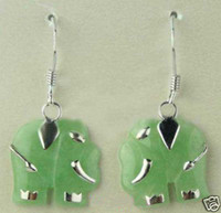 Stud earrings party wigs Fancy Jewelry jade elephant earrings