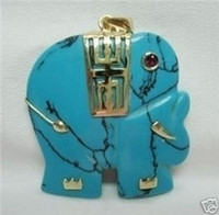Cheap Natural turquoise Jade Elephant Pendant Necklace