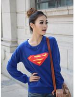 Women V-Neck Regular 2014 Autumn Women Cute Diamond Print T-Shirt Korean Fashion Superman Cotton Long Sleeve Tee Blue Top Wholesale Free shipping