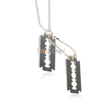 EA14 Fashion Dual Blades Pendant Necklace Man Sweater Chain Military Army Style