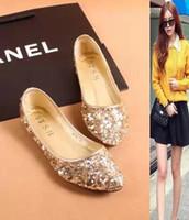 designer heels - Hot Sale women crystal pointed toe ballet flats shoes designer glitter comfortable causal work shoes