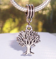 Wholesale Hot or Antiqued silverTree of Life Dangle Beads Fit European Charm Bracelet x17mm