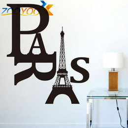 Paris removable DIY creative wall decals ZooYoo8186 removable vinyl wall stickers home decoration